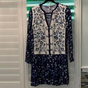 Anthropologie Embroidered Mini Dress